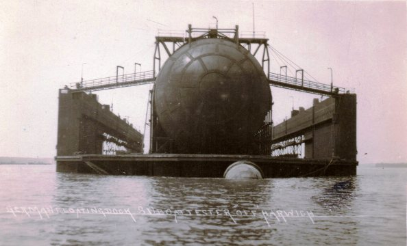 Image: German floating dock and U-boat tester off Harwich