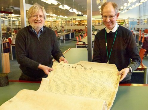 A document purchased by the Friends for ERO (FHE Chairman Dr Chris Thornton with ERO Archivist Chris Lambert)